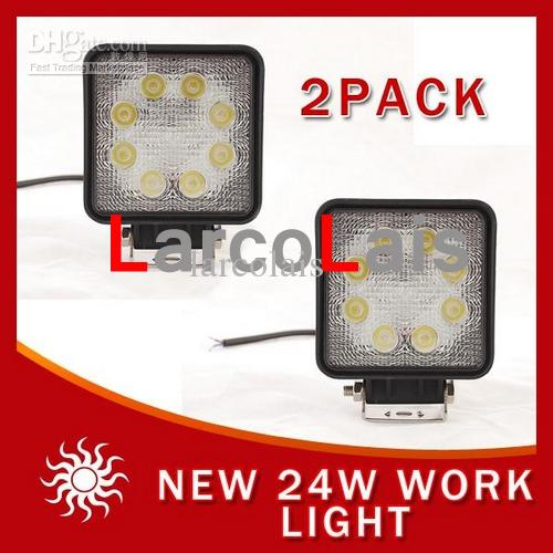 2×24W 12V 24V LEDワークライトオフロード4x4スポット洪水