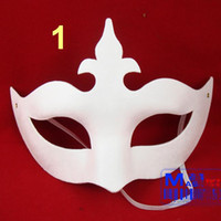Wholesale Hand Mask Paper - New Unpainted Paper Mache Mardi Gras Eye Mask hand craft Halloween Party women men unisex Mask Carnival Mask many styles