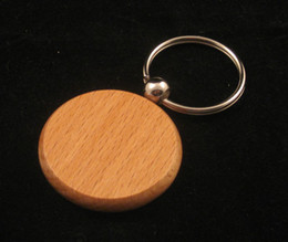 Wholesale Blank Keychains - 50pcs Blank Wooden Key Chain Circle 1.25'' -Free Shipping