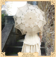 Hot selling Free ShippingBattenburg ivory cream beige Lace Parasol Umbrella Wedding Bridal 30 Inch Party Decoration Adult Size