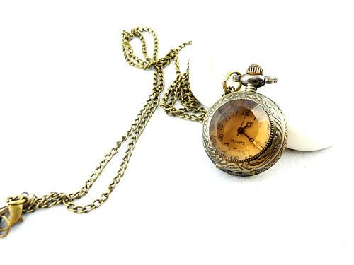 Halsband Pocket Watch Pocket Klockor Halsband Europa och Mörk Brun Liten Ansiktsfickur Necklace