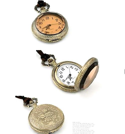 Necklace Pocket Watch POCKET WATCHES NECKLACE Europe And Dark Brown Small Face Pocket Watch Necklace