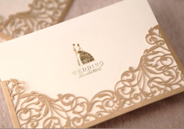 gold laser cut wedding invitations free customized printing wedding