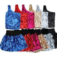 Wholesale Cheap Dancewear Dresses - Free Shipping Cheap One-shoulder Sequins sexy dress sets children's skirt stage costumes dancewear