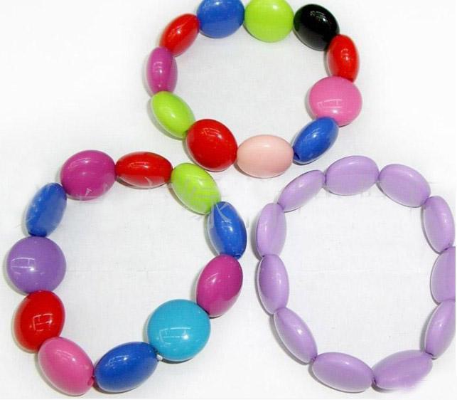 20% de descuento en la joyería pulseras niños / bebés! Bebé con la joyería de acrílico redonda de diferentes colores