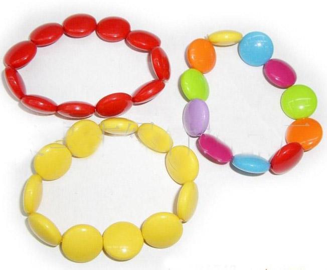 20%オフ!さまざまな色の丸いアクリルジュエリーを持つベビージュエリーキッズ/ベビーブレスレット