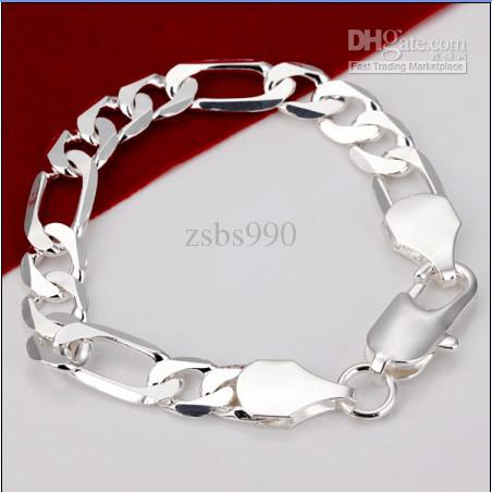 Joyería de los hombres calientes 925 pulsera de cadena de Fagarro de plata 12mm * 20cm envío libre de calidad superior /