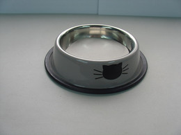 """Wholesale Lovely Cat Image - Cat Bowls Upper Dia. 3.94"""" Stainless Steel Made Bowls With Cat Head Images Printing Shows Lovely 12pcs a Lot"""