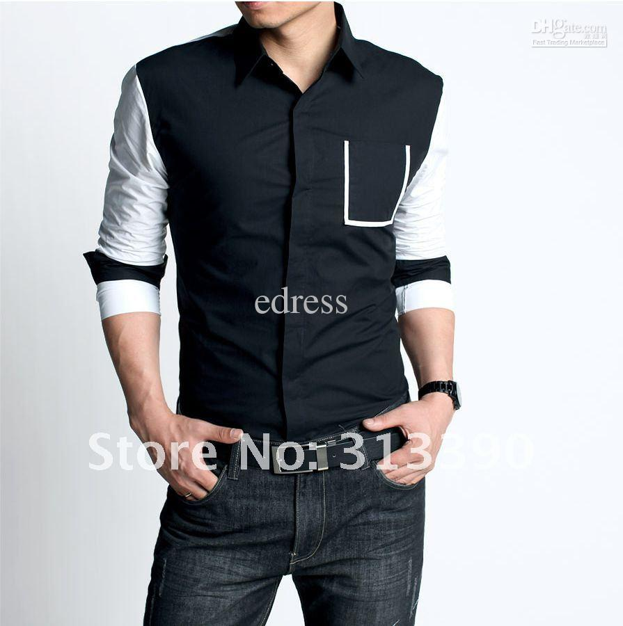 2017 New Arrival Man's Fashion Shirt, Black   White Shirt, Good ...