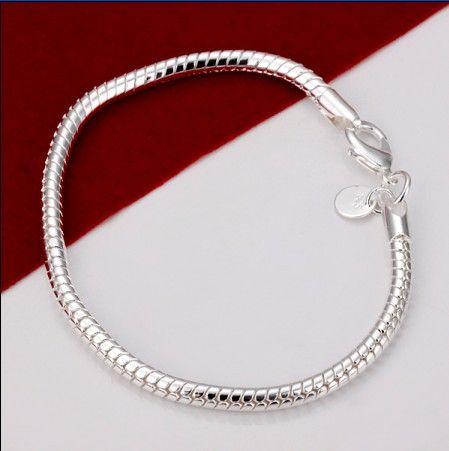 3 MM 8 pulgadas de largo 925 Silver Snake Charm Chain Bracelet ENVÍO GRATIS /