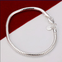 Wholesale Silver 3mm - 3MM 8 inches long 925 Silver Snake Charm Chain Bracelet FREE SHIPPING 10pcs   lot
