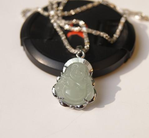 Beautiful alloy inlaid jade pendant, hand-carved natural light white jade Buddha amulet, lucky pendant necklace.