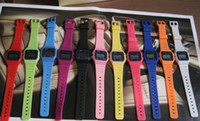 Wholesale Thin Purple Square Watch - Classic Sport watches Men women F-91W watches f91 fashion Ultra-thin LED watches alarm clocks 13color 20pcs lot