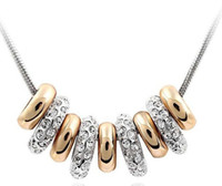 Wholesale Gold Filled Rings Prices - Hotsale!silver snake chain necklace 9 Gold rings full rhinestone pendant necklace factory price