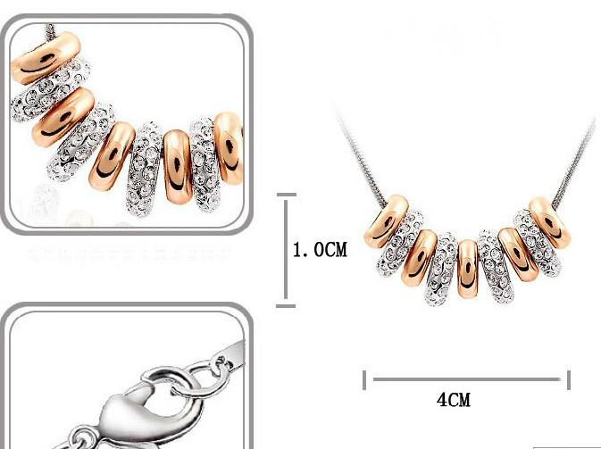 Hotsale!silver snake chain necklace 9 Gold rings full rhinestone pendant necklace factory price