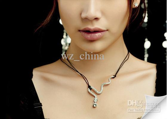 20% off!Snake Necklace silver/gold Snake Chain Pendant Necklace full diamond ladies jewelry