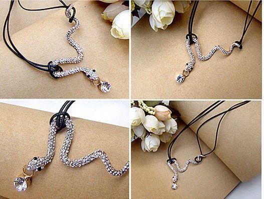 20% rabatt! Snake halsband silver / guld ormkedja hängande halsband full diamant damer smycken