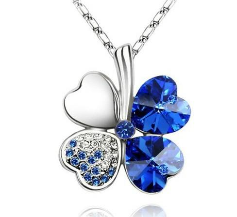 Real Crystal Four Leaf Clover Necklace Good Luck Gift leaf costume jewelry Free shipping Gold plated
