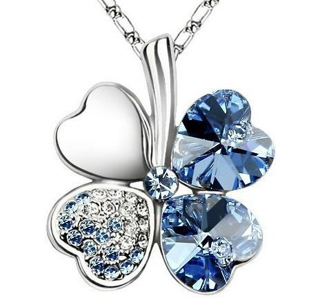 Äkta kristall fyra bladklöver halsband lycka till gåva löv kostym smycken gratis frakt guld pläterad