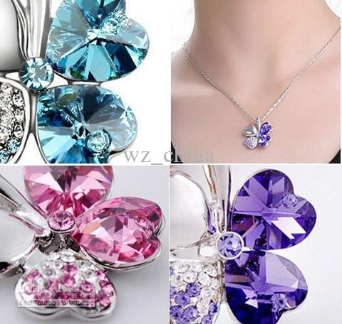 New arrive!Fashion jewelry four leaf clover necklace flower pendant necklace