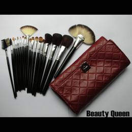 Rouler les cheveux en Ligne-QG! 18 Pcs Pro Cosmétique Maquillage Brosses Set Chèvre HAIR Pochette En Cuir Noir Rouge Sac Roll-up Pouch NOUVEAU