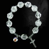 Wholesale White Beaded Rosary Beads - Acrylic Rosary Bracelet Jesus Bracelets Religious Jewelry Stretch Bracelet White Rose Beads Bracelets