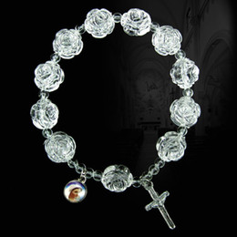 Wholesale White Rosaries - Acrylic Rosary Bracelet Jesus Bracelets Religious Jewelry Stretch Bracelet White Rose Beads Bracelets