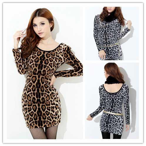 Fashion Women S Dresses Leopard Formal Dresses Two Colors