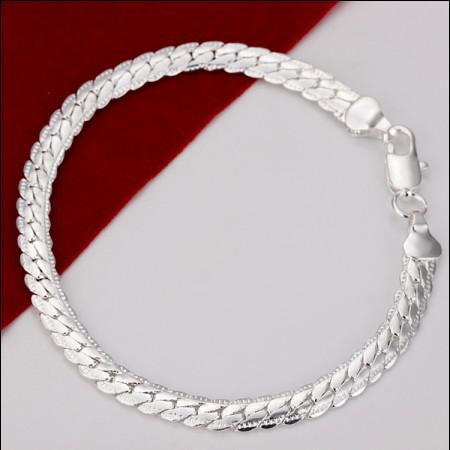 925 Silver Charm Chain Bracelet for men 5mm*8inches Cool birthday gift Fashion Jewelry free shipping 10pcs