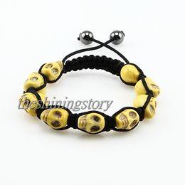 Wholesale Macrame Bracelets Beads - Mix color Macrame north skull turquoise beads bracelets drawstring adjustable armband wristband Shb010 handmade fashion jewellery