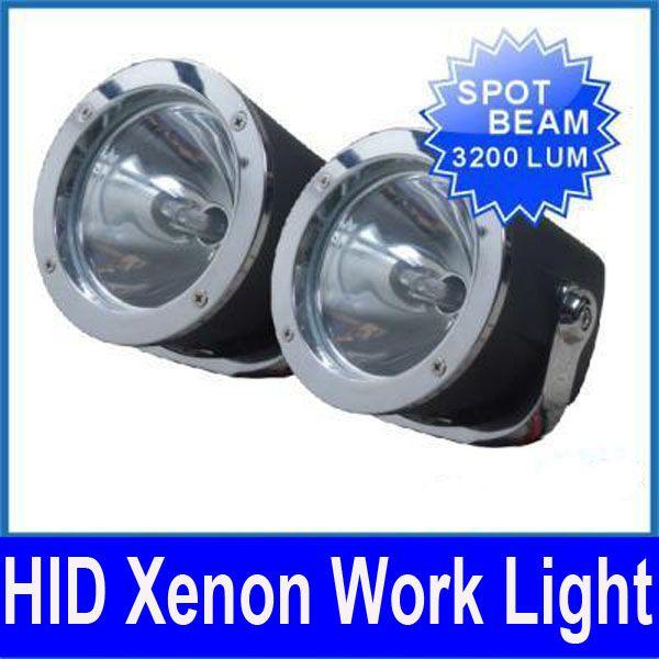 "55W 5"" HID XENON WORK LIGHT SPOT BEAM HEAD LAMP VEHICLE BULB SUV ATV TRUCK W/BUILT IN BALLASTS"