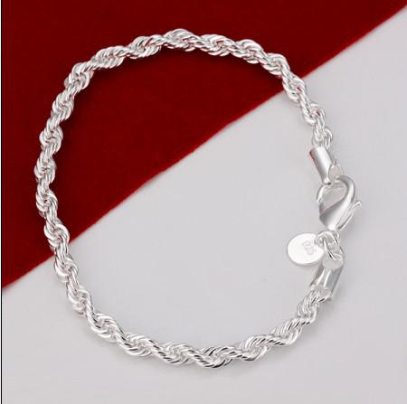 100% new high quality 8 inch long 925 Silver Twisted Rope Chain Bracelet /