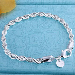 Wholesale New Bracelet 925 Silver - 100% new high quality 8 inch long 925 Silver Twisted Rope Chain Bracelet FREE SHIPPING 10pcs   lot