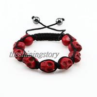 Wholesale Skull Macrame Bracelet - 010-3 Macrame elegant skull stone beads adjustable shamballa bracelets jewellery