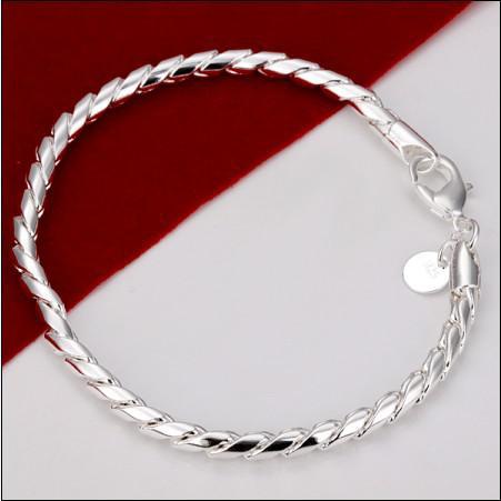 Encanto de plata 925 pulsera de cuerda torcida 8 pulgadas Moda estilo neutral 100% nueva alta calidad pulsera de cadena ENVÍO GRATIS /
