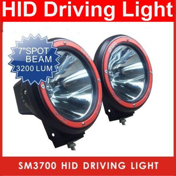 "PAIR 7"" 55W/12V HID XENON 9-32V SUV ATV DRIVING SPOT OFFROAD LIGHT 4WD 4X4 W/BUILT IN BALLASTS 6000K"
