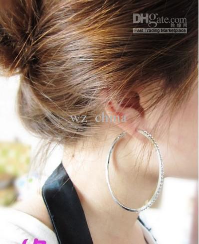 Neue Mode große Creolen AB bunten Diamanten Perlen 70mm