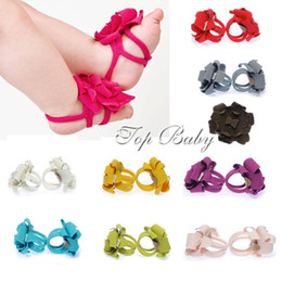 Wholesale Baby Flower Tie Shoes - baby foot flower kids' foot wear foot ties baby first walker shoes ties TOP BABY feetband manycolors