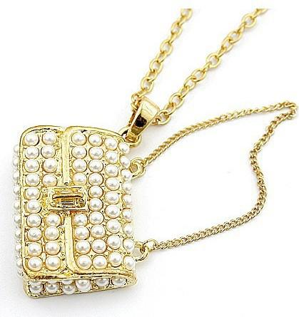 HotSale! Kvinnors smycken guld pärlhalsband plånbok kedja smycken