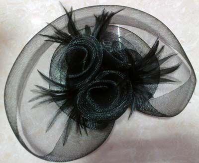 ミニトップハット魅力的な羽バードケージベールアクセサリー毛皮ベール弓羽羽毛バレット/ロット#133