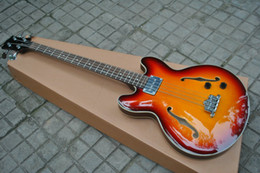 Wholesale Guitar Cherry Hollow - 4 strings bass sunburst JAZZ Hollow electric bass guitar Chinese guitar