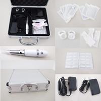 Wholesale Tattoo Case Set - Permanent Tattoo Makeup Machine Kits Milk White Pen Needles Tips Case Eyebrow & Lip Set Complete for Beginner