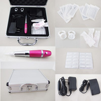 Wholesale Tattoo Case Set - High Quality Permanent Tattoo Makeup Pink Machine Kits Footswitch Needles Tips Case Eyebrow & Lip Set Kits