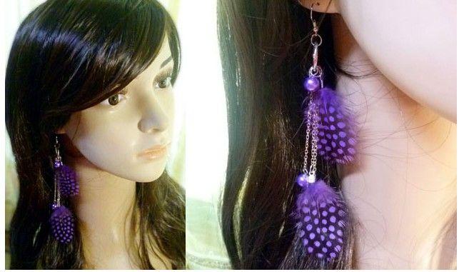 Brincos de penas de pavão bonito moda jóias longos brincos de penas com mancha colorida