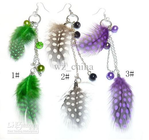 Piękny Peacock Feather Kolczyki Biżuteria Długie kolczyki z piórami z kolorowymi punktami