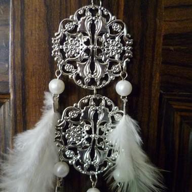fjäderförlängning ihålig / tofs spets mode smycken fjäder örhängen vit