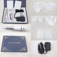 Wholesale Starter Kits Tattoos - Colorful Tattoo Machine Kits- White Pen Makeup Eyebrow Machine Kits Needles Tips Ink Caps Case Pro