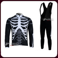 Wholesale Skeleton Cycle Jersey - Skeleton Winter Thermal Fleece Long Sleeves Bib Cycling Jersey Cycling Clothes. 3638