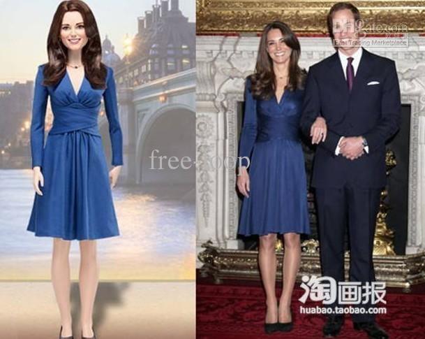 Women's Dresses Blue Deep V Neck Tall Waist Dresses Evening Party ...