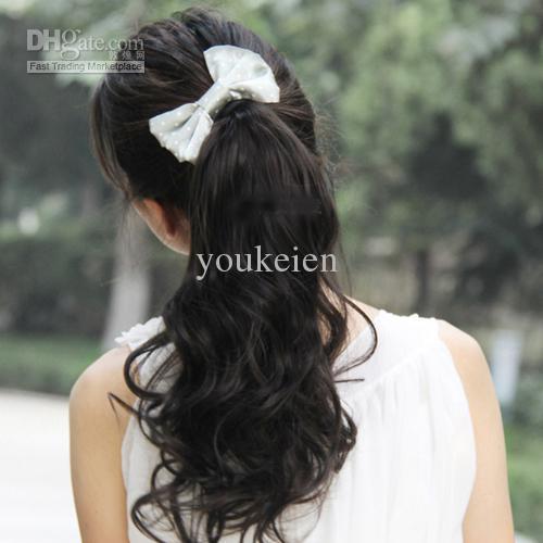 5 stks Paardenstaarten Synthetische haarstukken 4 kleuren voor dames vergelijkbaar met menselijk haar